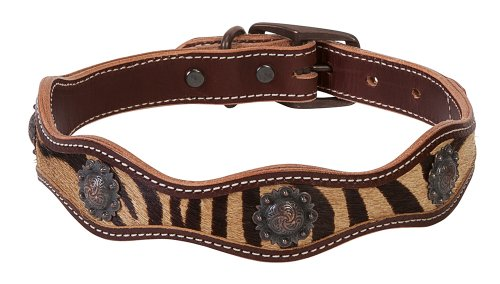 Weaver Leather Scalloped Collar with Zebra Inlay, 1 x 21-Inch, Brown