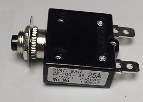CBK Supply - ZE700-25A Zing Ear thermal circuit breaker replaces Carling, Joemex, Kuoyeh, P&B 25a Thermal Circuit Breaker