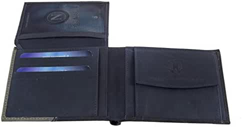 Wallet man SSC NAPOLI blue in leather with flap and coin purse A5187