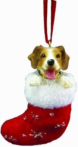 """Brittany Spaniel Christmas Stocking Ornament with """"Santa's Little Pals"""" Hand Painted and Stitched Detail"""