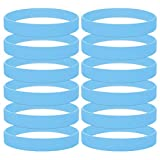 GOGO 12 PCS Silicone Wristbands, Adult Rubber Bracelets, Party Accessories-cambridgeblue