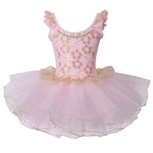 Meeyou Little Girls' Flower Ovelay Ballet Tutu Dress,Gold Pink Style 2,Size -