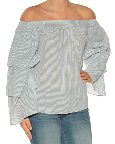 LA CADEMIE $148 Womens New 1642 White Striped Off Shoulder Top S B+B