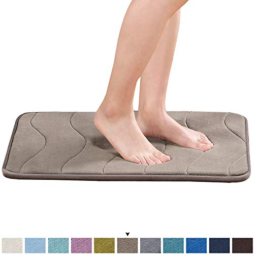 """Memory Foam Bathroom Rugs Slip-Resistant Extra Absorbent Bath Mat Set Non Slip Dry Fast Bath Mat 17""""X24"""" Memory Foam Bath Mat with Anti-Skid Bottom Non-Slip Quickly Drying Taupe Waved Pattern"""