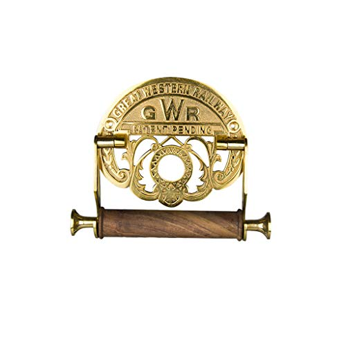 - MEI Toilet Paper Holder Toilet Roll Holder - Victorian Style Wall Mounted  Paper Towel Holder with Solid Wood Reel,Antique Brass Finish - Ideal Bathroom Accessory