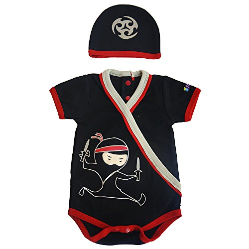 Baby Karate Costume (Boys Ninja Bodysuit & Cap Set, Black/Red, 0-3 Months)