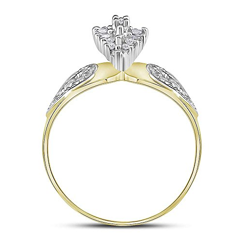 10kt Two-tone Yellow Gold Womens Round Diamond Oval Cluster Love Heart Ring 1/8 Cttw by Jewels By Lux (Image #3)
