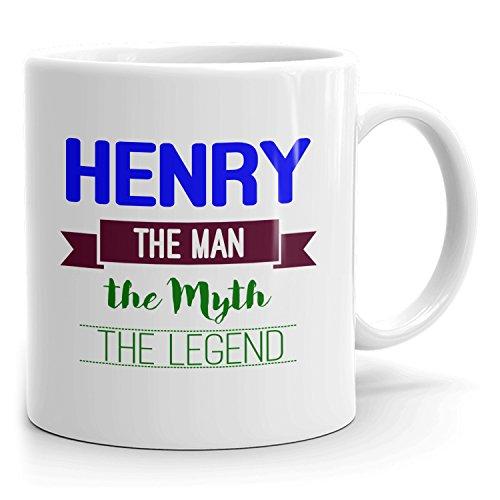 MugMax The Man the Myth the Legend D7 Ceramic Coffee Mug Personlized Henry White 11 oz