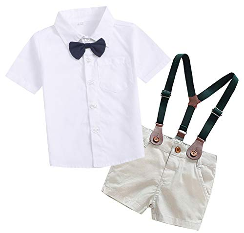 SANGTREE Baby Boys Summer Gentlemen Outfit, Dress Shirt with Bow Tie + Suspender Shorts Clothes for Toddlers Baby & Little Boys, White, Tag 120 = 3-4 Years