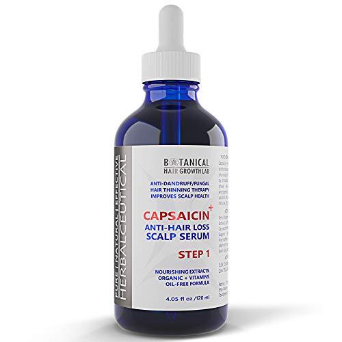 Hair Loss Serum DHT Blocker Alopecia Treatment for Hair Growth CAPSAICIN+ Oil-Free Formula - Caffeine, Niacin, Vitamins, Azelaic Acid, Extracts - Hair Loss Prevention for Men and Women 4 Fl Oz