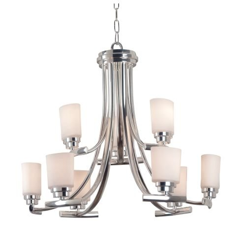 Kenroy Home 90379PN Bow Nine-Light Chandelier, Polished Nickel With White Opal Globes