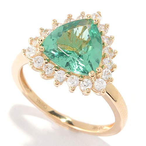 Pinctore 14K Gold 3.28ctw Trillion Shaped Green Apatite & White Zircon Ring ()