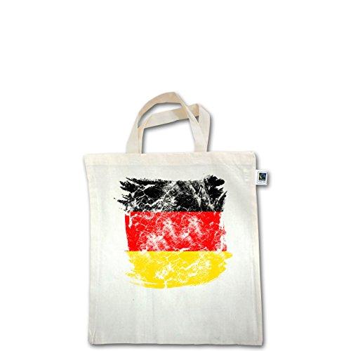 EM 2016 - Frankreich - Deutschlandflagge Pinsel - Unisize - Natural - XT500 - Fairtrade Henkeltasche / Jutebeutel mit kurzen Henkeln aus Bio-Baumwolle
