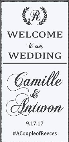 Best Design Amazing Decals Welcome to Our Wedding - Customize with Bride and Groom's Name Along with Wedding Date - Add to Windows Mirrors or chalkboards - Made in ()
