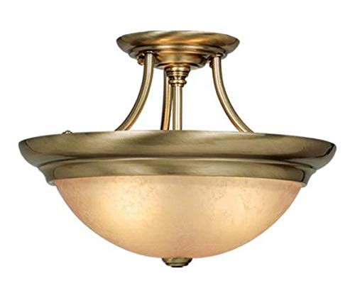 - Antique Brass 3 Light Semi-Flush Indoor Ceiling Fixture with Crackle Glass Shade - 15 Inches Wide
