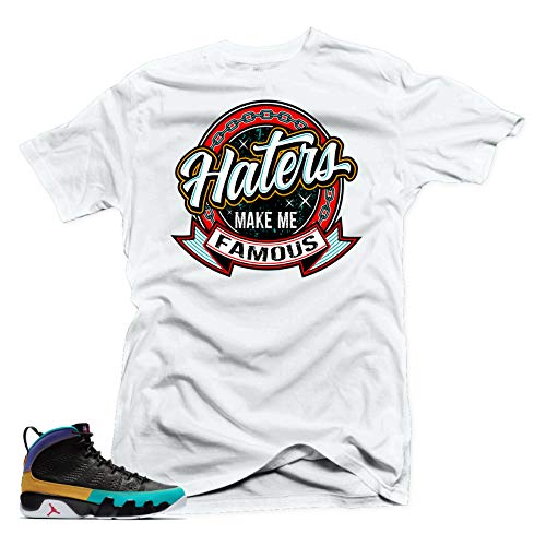 SNELOS Shirt to Match Jordan (Jordan 9 Dream it DOIT Haters Make me Famous Shirt (White), L)