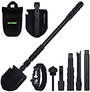 SUPCAMP Folding Shovel, Portable Survival Shovel Multi-Function Military Folding Shovel Tactical Survival Tool