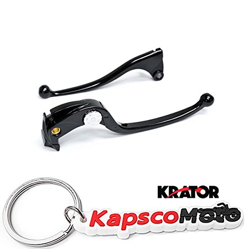 Krator Kawasaki Ninja ZX10 ZX6R ZX10R 2006-2012 Billet Aluminum Black Brake and Clutch OEM Stock Style Hand Grips Levers Left and Right One Pair Motorcycle + KapscoMoto - Lever Billet Brake Aluminum