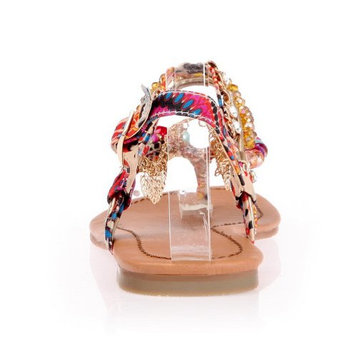 AmoonyFashion Womens Thong Toe Flats Cotton Soft Material Assorted Colors Sandals with Rhinestones Multicoloured mVmm8