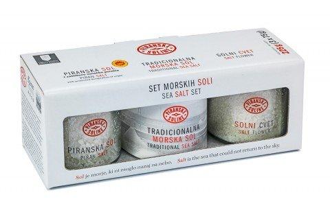(Piranske Soline Salt Set of three sea salts (3x2.6oz/75g) 700 years of tradition)