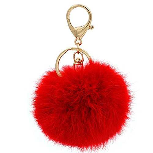Prince2018 Ball Pom Pom Keychain Fur Ball Keyring Fluffy Accessories Car Bag Charm (red)