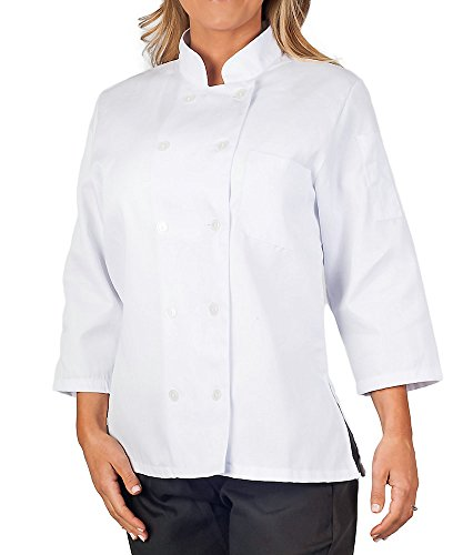 KNG Womens White Classic ¾ Sleeve Chef Coat, M