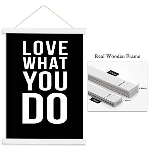 PONOSIR Poster Frame Magnetic Poster Hanger Wooden Frame for Canvas Photo Picture Print Artwork (White, 18