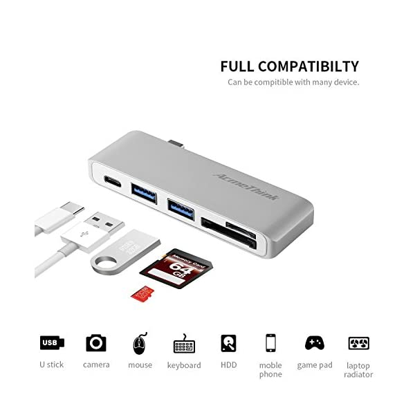 USB C Hub AcmeThink Type C Adapter 31 With Card Reader 2 USB 30 Ports