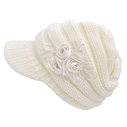 Beanie Ladies White - YSense Womens Winter Warm Cable Knit Beanie Hats Newsboy Cap Visor with Sequined Flower White