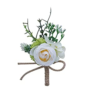 (2 PCS/LOT) Outdoor Wedding Boutonniere Rustic Wedding Guest Corsage Flower 24