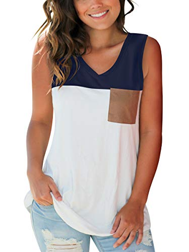 SAMPEEL Womens Tank Tops Cute Color Block Cami Vest Sexy V Neck Suede Pocket Navy Blue XL