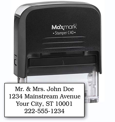 - MaxMark Large Size - 4-Line Custom Self Inking Return Address Stamp - w/ 5-Year Warranty