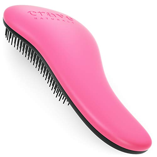 Crave Naturals Glide Thru Detangling Brush for Adults & Kids Hair - Detangler Comb & Hair Brush for Natural, Curly, Straight, Wet or Dry Hair (PINK)