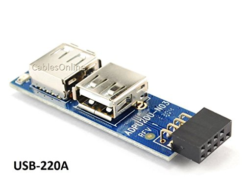 USB 2.0 9-Pin Header (2x5) to Dual USB A Female Port I Type Internal ()