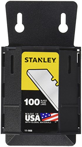 Stanley 11-988 Safety/Carton Round Point Utility Blades with Dispenser,Pack of 100(Pack of 100) (Stanley Knife Blades)