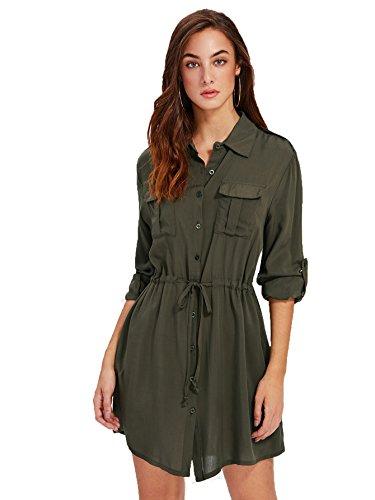 Drawstring Shirt Dress (Milumia Women's Roll Up Sleeve Pocket Front Drawstring Mini Tunic Shirt Dress Army Green X-Large)