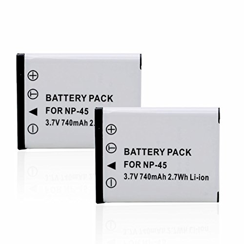 Aotu 740mAh Replacement Battery for Fujifilm NP-45, NP-45A, NP-45S (Pack of 2)