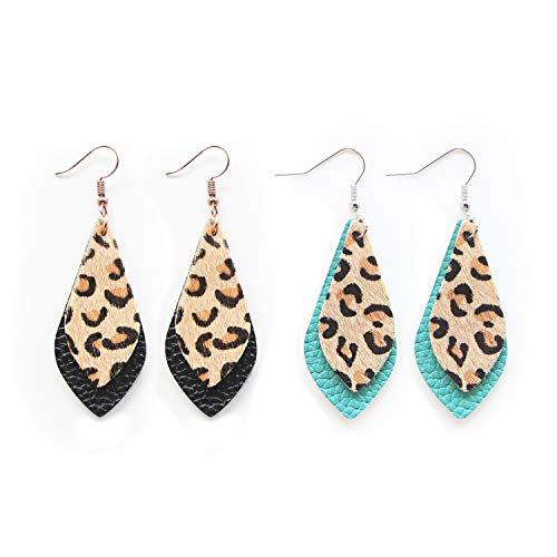 Me&Hz Black/Turquoise Blue Petal Leaf Genuine Fur Leather Earrings Set Layered Dangle Drop Brown Leopard Print Leather Hoop Earrings for Women