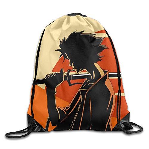 Carl McIsaac Samurai Champloo Sunset Drawstring Bag, Drawstring Backpack, Sport Bag, Gymsack, Sackpack, Shoulder Bags For Men Women Teenager Juvenile Adolescent, Size: 17 Inch X 14 Inch -