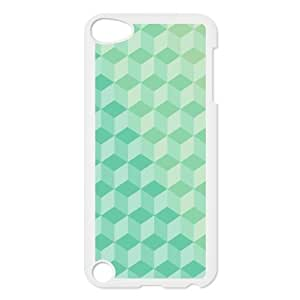 3D Green Cubes Pattern Ipod Touch 5 Case, Ipod Touch 5 Cases for Boys Kawaii Bloomingbluerose - White