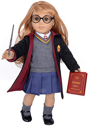 ebuddy 10pc/Set Hermione Inspired Doll Clothes Outfits for 18 inch American Girl Dolls Includes Shirt, Skirt, Sweater, Tie, Socks, Robe, Magic Wind, Imitate Book and Shoes Glasses
