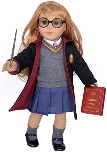 ebuddy 10pc Set Hermione Inspired Doll Clothes Outfits for 18 inch American Girl Dolls Includes Shirt, Skirt, Sweater, Tie, Socks, Robe, Magic Wind, Imitate Book and Shoes Glasses