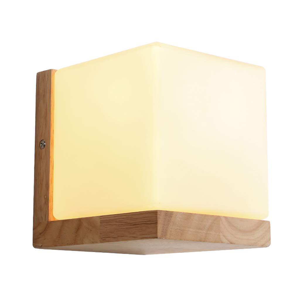 MLX Wandleuchte, Nordic Massivholz Wandleuchte Einfache Moderne Kunst Kreative Persönlichkeit Wohnzimmer Schlafzimmer Lampe Nachttischlampe Quadrat Wandleuchte (Größe   Warmes Licht)