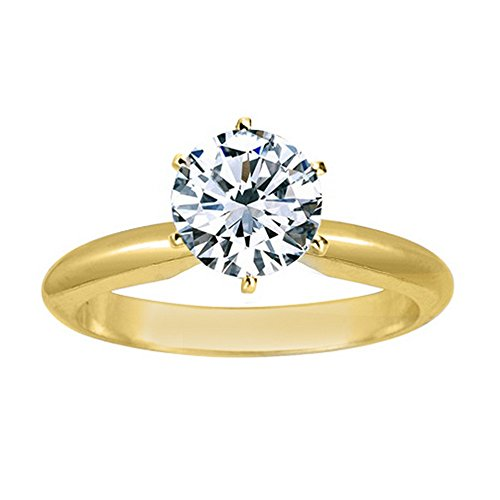 18K Yellow Gold 6-Prong Round Cut Solitaire Diamond Engagement Ring (1 Carat K Color SI2 Clarity) by Diamond Manufacturers USA
