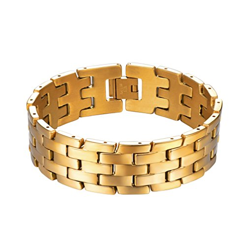 PROSTEEL 18K Gold Plated Link Chunky Bracelet Wide Stainless Steel Classic Men's Gift Wrist Chain Link Bangle Men ()