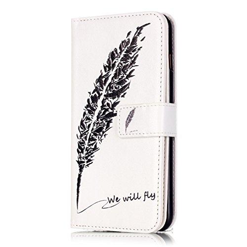 Voguecase® für Apple iPhone 6 Plus/6S Plus 5,5 hülle, Kunstleder Tasche PU Schutzhülle Tasche Leder Brieftasche Hülle Case Cover (Schwarz Feder 05) + Gratis Universal Eingabestift