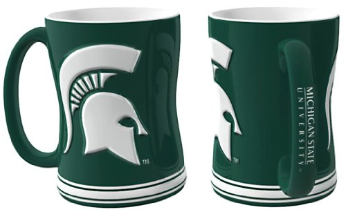 Michigan State Spartans Coffee Mug - Michigan State Spartans 15 oz Relief Mug - Green,