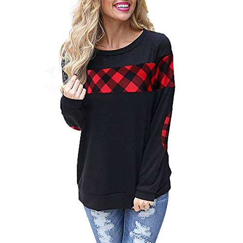 - Byyong Women's Long Sleeve Plaid Shirt Crew Neck Elbow Patches Pullover Sweatshirt Winter Warm Blouse Tops