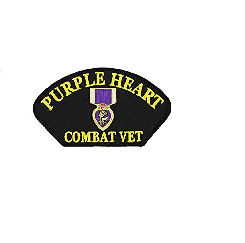 Purple Heart Combat Vet Embroidered Military Patch 3 by 5-1/4 Inches - Military Vet Patch