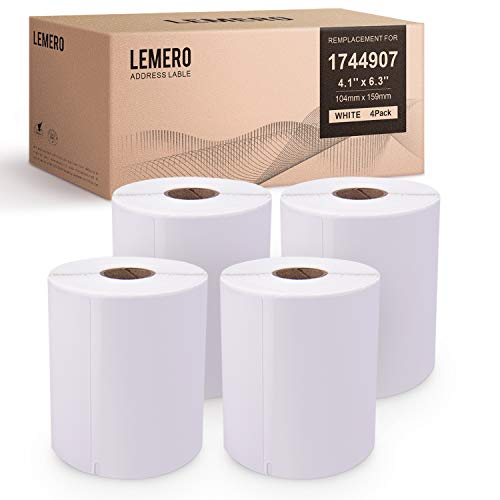 LEMERO Compatible with DYMO 1744907 Extra-Large Shipping Labels - White Thermal Postage Labels 4 inch x 6 inch Strong Permanent Adhesive for DYMO LabelWriter 4XL (4 Rolls, 220 Labels/Roll) (Dymo Labelwriter 4xl 4 X 6 Label Printer)